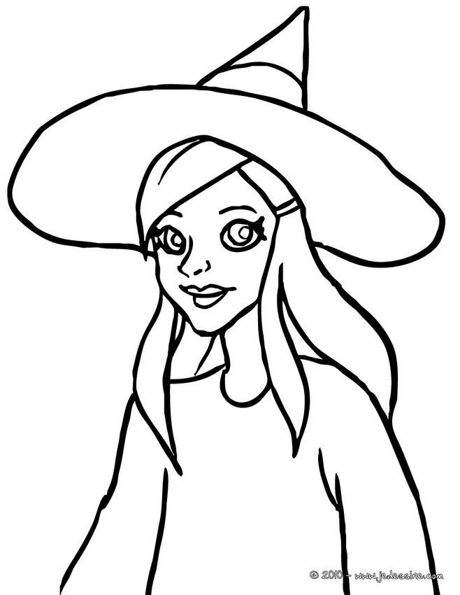 Coloriage et dessins gratuits Fille porte chapeau de sorcière à imprimer