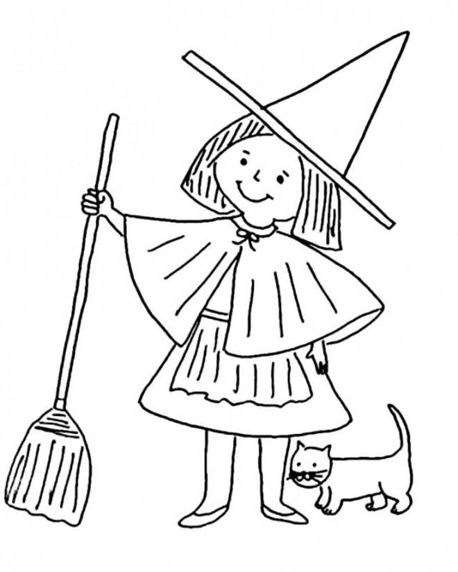 Coloriage et dessins gratuits Fille sorcière dessin simple à imprimer