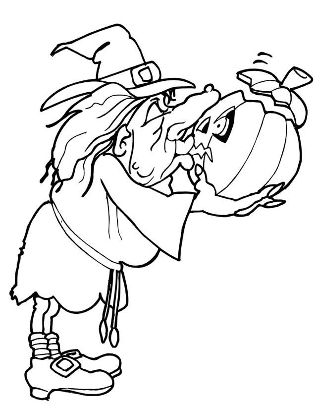 Coloriage et dessins gratuits Halloween sorcière citrouille à imprimer