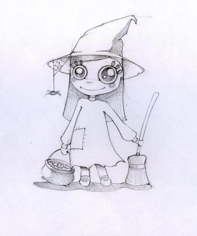 Coloriage et dessins gratuits Image de belle petite sorcière à imprimer