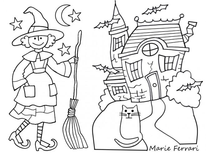 Coloriage et dessins gratuits La maison de sorcière à imprimer