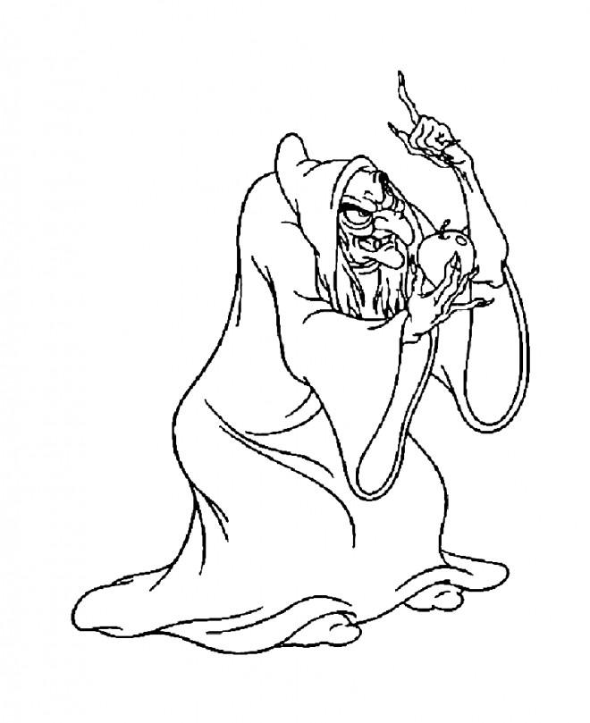 Coloriage et dessins gratuits La sorcière avec la pomme à imprimer