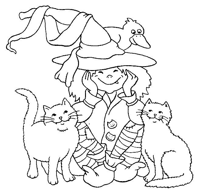 Coloriage petit sorci re et ses chats dessin gratuit imprimer - Coloriage gratuit mini sorciere ...