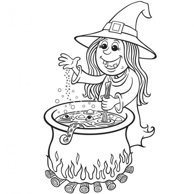 Coloriage et dessins gratuits Petite fille sorcière chaudron en couleur à imprimer