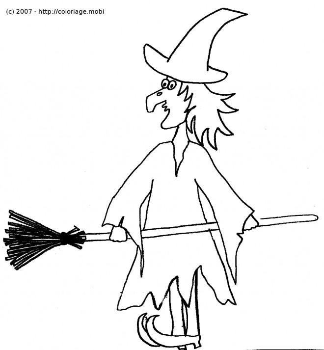Coloriage et dessins gratuits Simple dessin de sorcière à imprimer