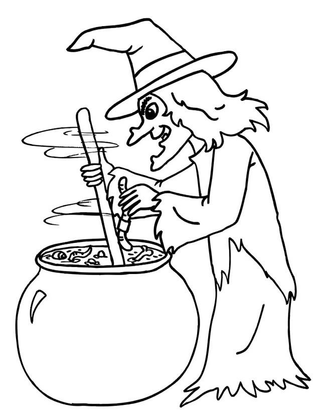 Coloriage sorci re avec son chaudron dessin gratuit imprimer - Coloriage gratuit mini sorciere ...