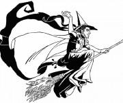 Coloriage Sorcière et balai magique