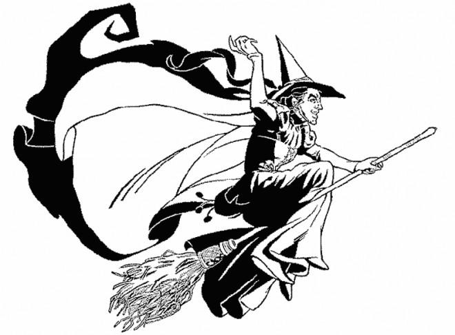 Coloriage et dessins gratuits Sorcière et balai magique à imprimer