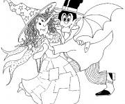 Coloriage Sorcière et Dracula