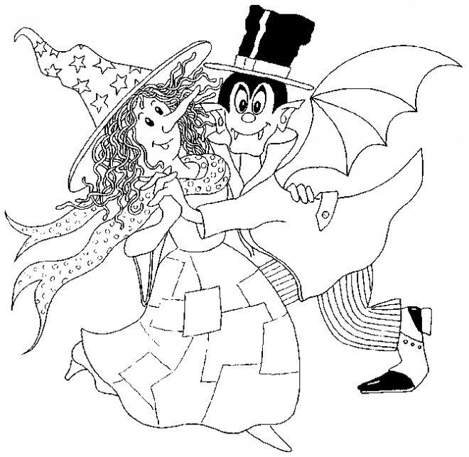 Coloriage et dessins gratuits Sorcière et Dracula à imprimer