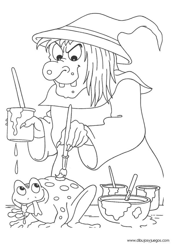 Coloriage et dessins gratuits Sorcière et grenouille à imprimer