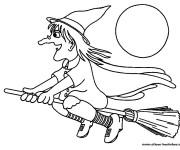 Coloriage et dessins gratuit Sorcière et la lune à imprimer