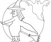 Coloriage Sorcière et le fantôme