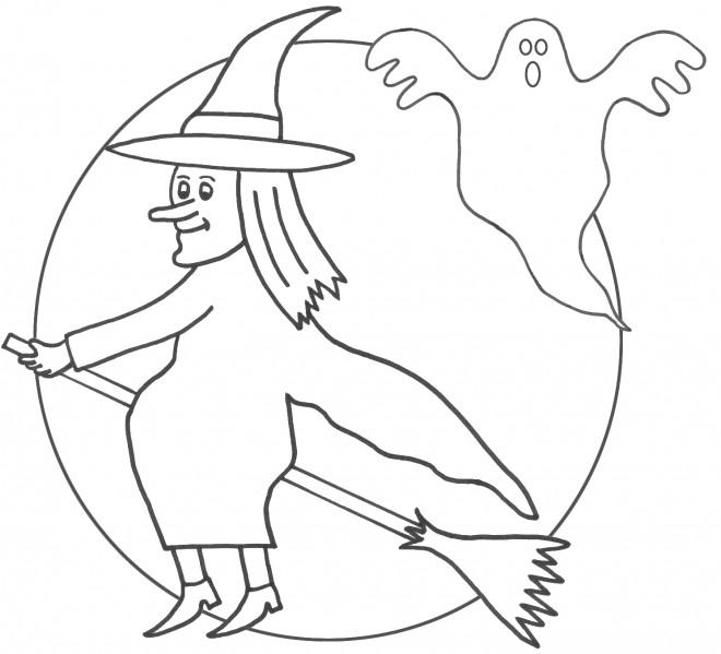 Coloriage et dessins gratuits Sorcière et le fantôme à imprimer