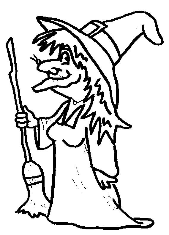 Coloriage sorci re et son balai dessin gratuit imprimer - Le jeux de la sorciere qui fait peur ...
