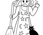 Coloriage Sorcière et son chat