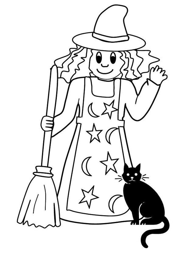 Coloriage et dessins gratuits Sorcière et son chat à imprimer