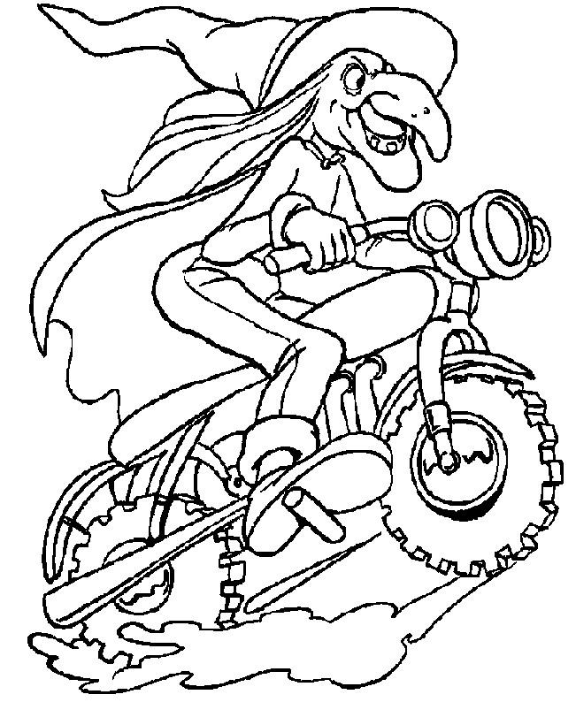 Coloriage et dessins gratuits Sorcière sur son moto à imprimer