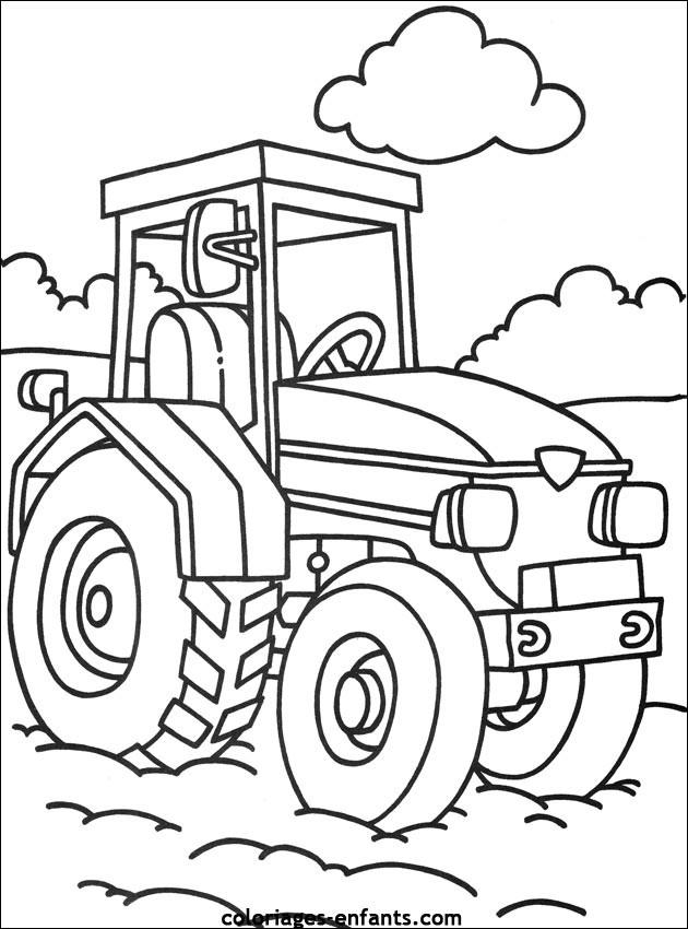 Coloriage tracteur en couleur dessin gratuit imprimer - Coloriage tracteur avec remorque ...