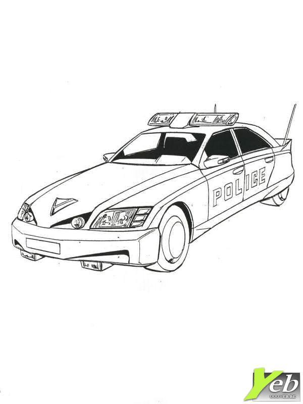 Coloriage Une Voiture De Police Moderne Dessin Gratuit à