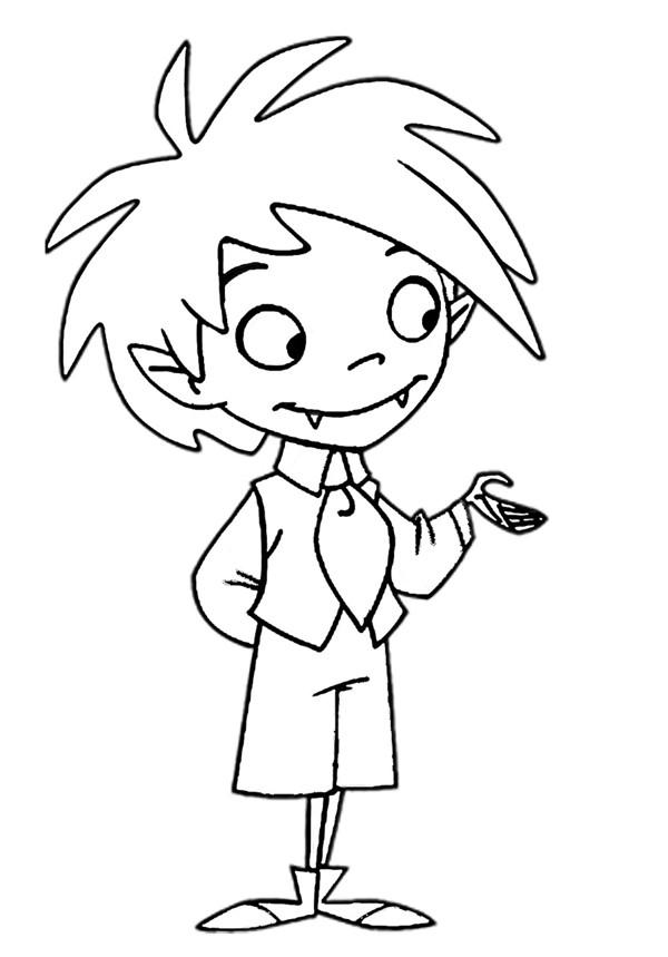 Coloriage Vampire enfant simple dessin gratuit à imprimer