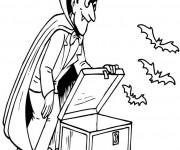 Coloriage et dessins gratuit Vampire fait sortir ses chauve souris à imprimer