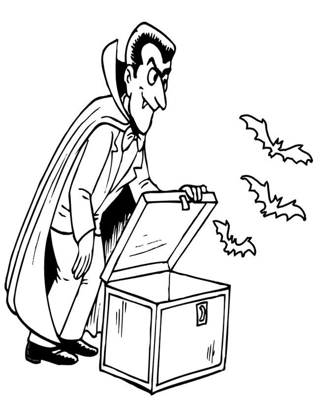 Coloriage et dessins gratuits Vampire fait sortir ses chauve souris à imprimer