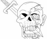Coloriage et dessins gratuit Halloween tête de mort à imprimer