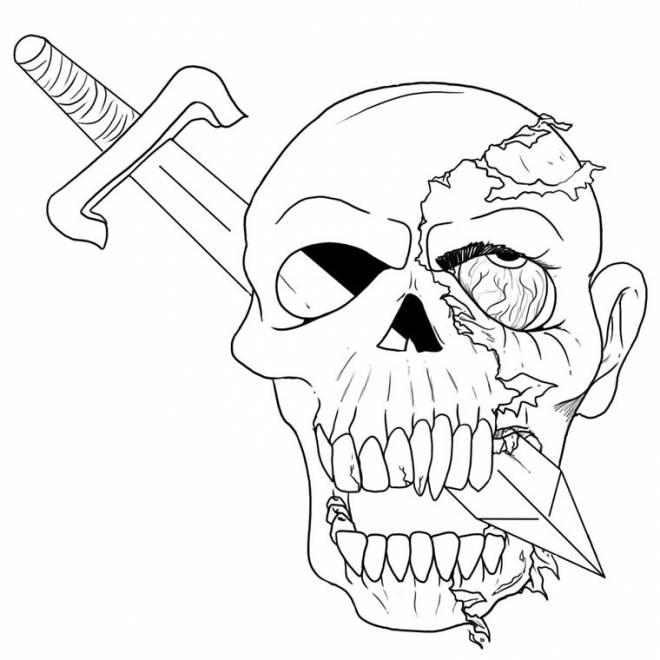 Coloriage et dessins gratuits Halloween tête de mort à imprimer