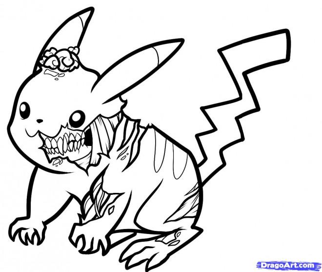 Coloriage et dessins gratuits Pikachu Zombie à imprimer