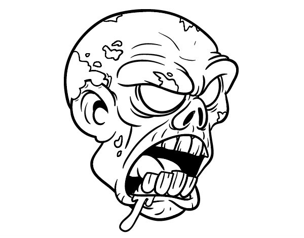 Coloriage t te de Zombie dessin