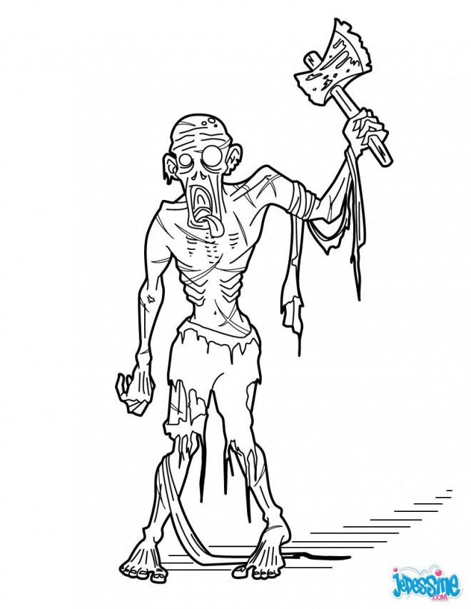 Coloriage et dessins gratuits Zombie à la hache à imprimer