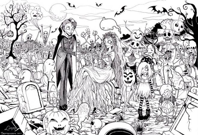 Coloriage et dessins gratuits Zombie amoureux à imprimer