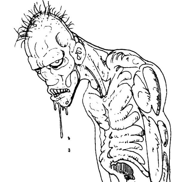 Coloriage Zombie Avec Le Regard Qui Fait Peur Dessin Gratuit A Imprimer