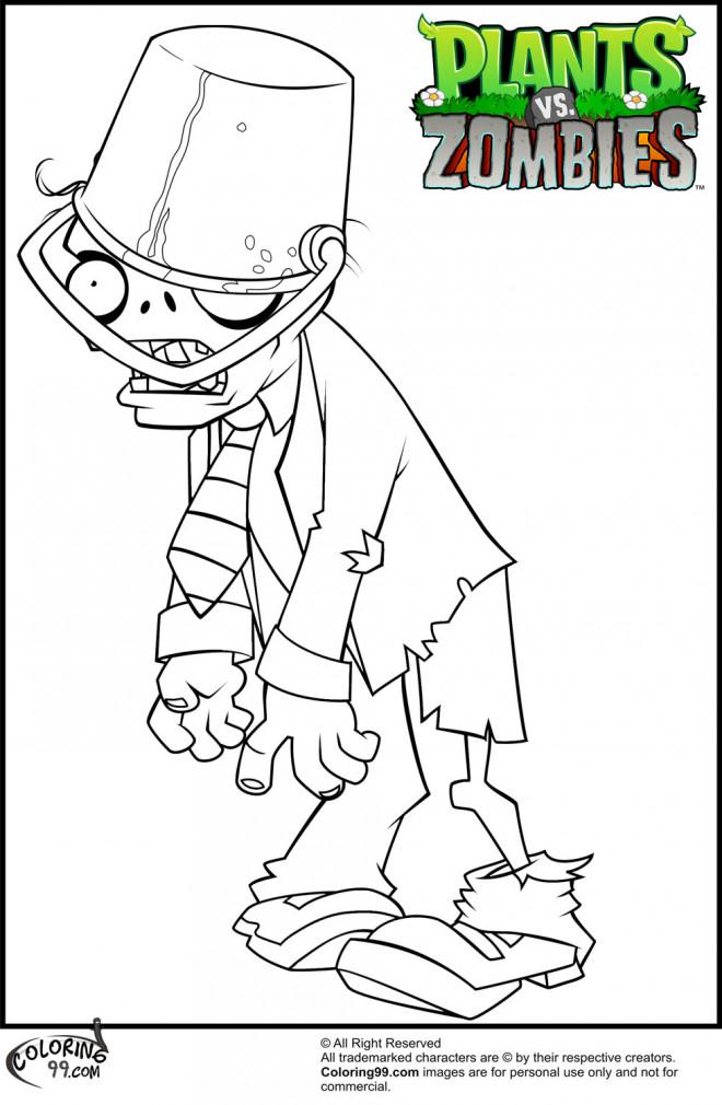 Coloriage et dessins gratuits Zombie avec seau dans la tête à imprimer