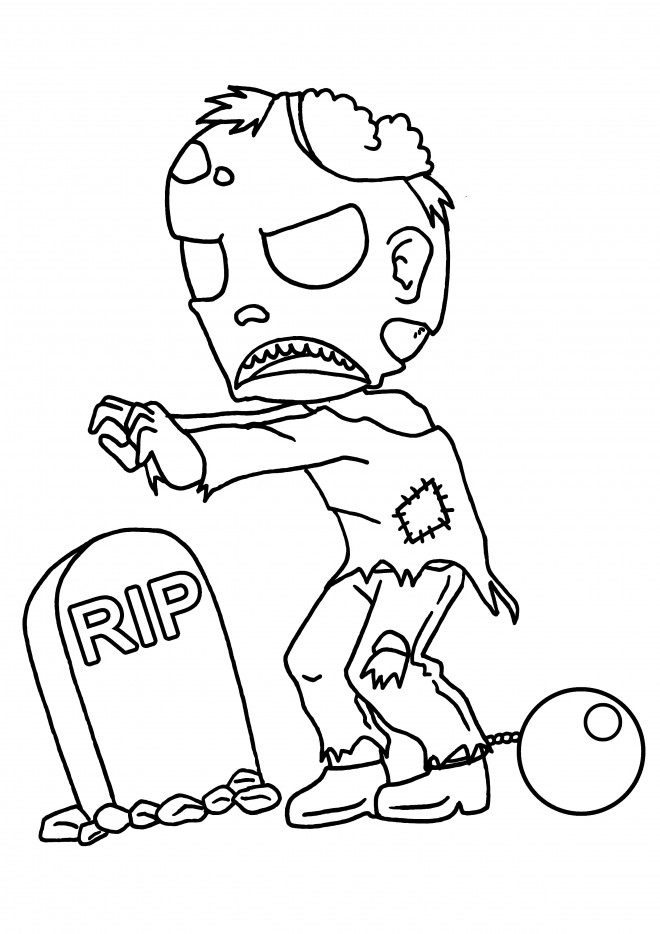 Coloriage et dessins gratuits Zombie devant la tombe à imprimer
