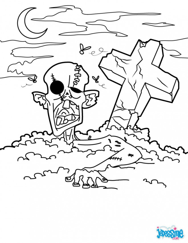 Coloriage et dessins gratuits Zombie du cimetière à imprimer