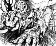 Coloriage et dessins gratuit Zombie en couleur à imprimer