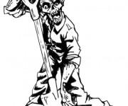 Coloriage et dessins gratuit Zombie et la pelle à imprimer