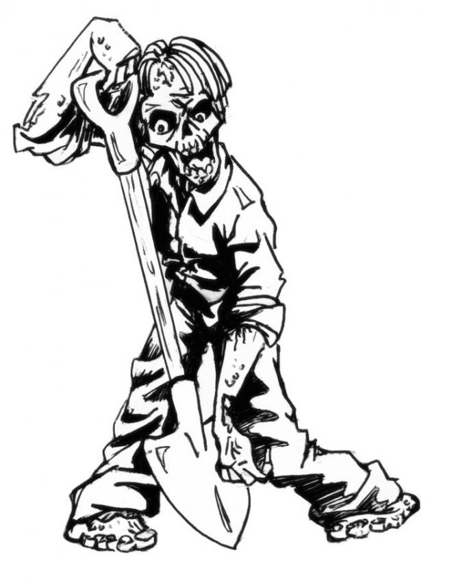 Coloriage et dessins gratuits Zombie et la pelle à imprimer