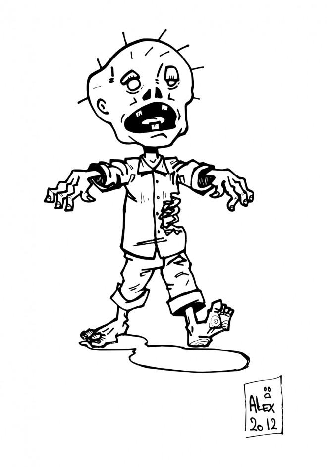 Coloriage et dessins gratuits Zombie moche à imprimer