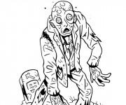 Coloriage et dessins gratuit Zombie sort de la tombe à imprimer