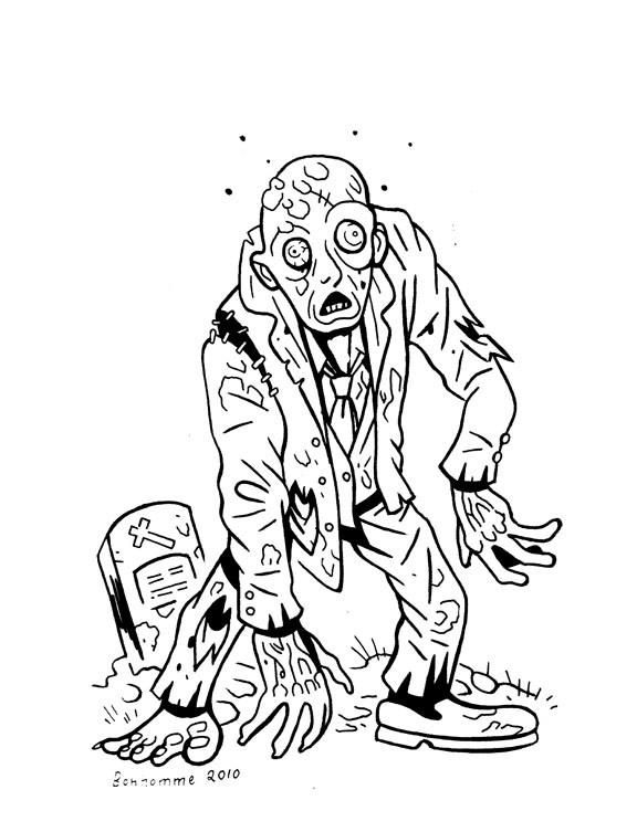 Coloriage et dessins gratuits Zombie sort de la tombe à imprimer