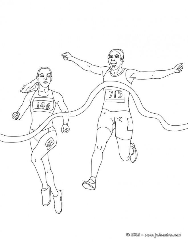 Coloriage et dessins gratuits Athlète gagnante en course à imprimer