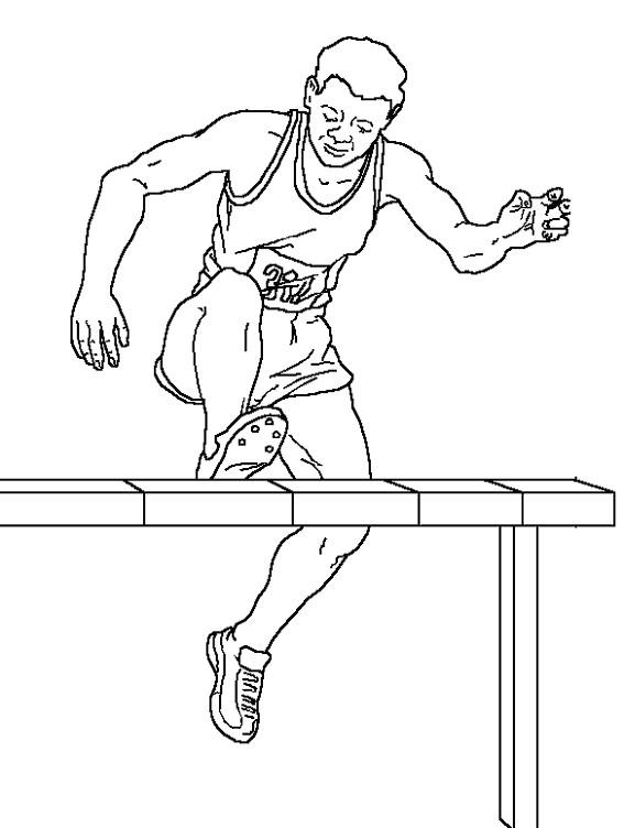 Coloriage et dessins gratuits Athlétisme Course de haies à imprimer