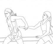 Coloriage et dessins gratuit Athlétisme Course de Relais à imprimer
