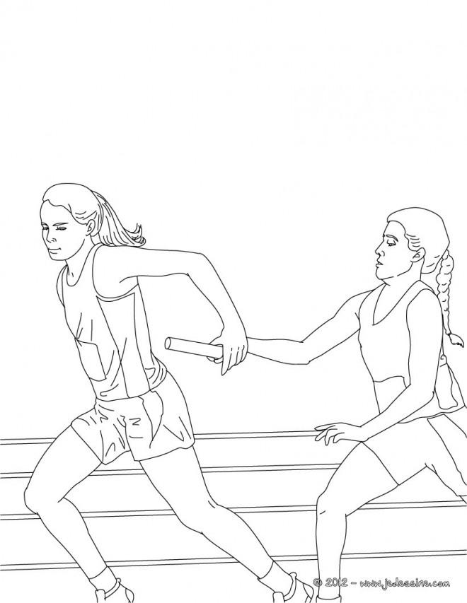 Coloriage et dessins gratuits Athlétisme Course de Relais à imprimer