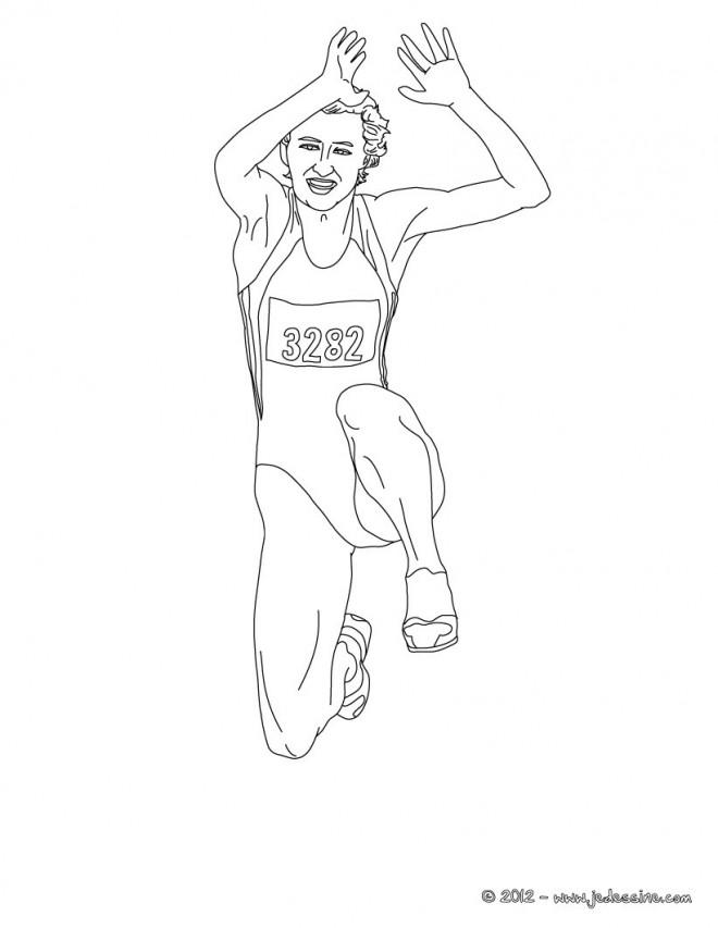 Coloriage et dessins gratuits Athlétisme Saut en ligne à imprimer