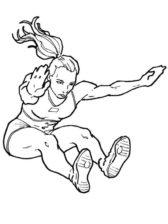 Coloriage et dessins gratuits Femme Athlete Triple Saut à imprimer