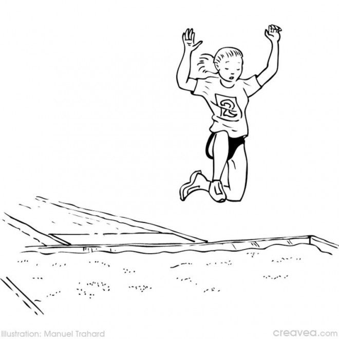 Coloriage et dessins gratuits Saut en longueur Athlétisme à imprimer